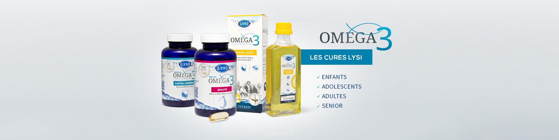 Cures d'omega 3 de 2, 3, 4 ou 6 mois sous forme de gélule